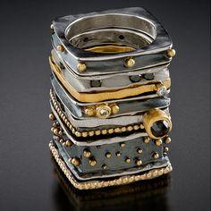 Набор из 8 колец Окисленный серебра, 18-каратного золота, 14 к. белого золота, бриллиантов