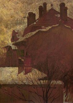 Egon Schiele, Häuser im Winter (Österreichische Galerie Belvedere) (1907/08)