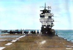 IJN aircraft carrier Akagi flight deck and island tower.