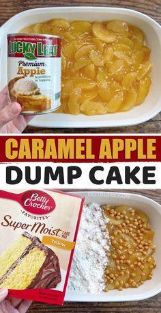 Box Cake Recipes, Apple Cake Recipes, Cake Filling Recipes, Dump Recipes, Dessert Cake Recipes, Easy Desserts, Apple Cobbler Easy, Apple Pie, Caramel Apple Dump Cake