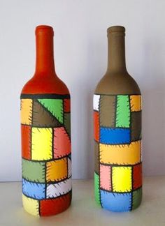 , find hand made, old, as well as one regarding a kind goods and items related to your quest. Painted Glass Bottles, Glass Bottle Crafts, Wine Bottle Art, Diy Bottle, Pottery Painting Designs, Jar Art, Idee Diy, Bottle Painting, Mason Jar Crafts