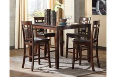 Bennox Counter Height Dining Room Table and Bar Stools (Set of 5) by Ashley HomeStore, Brown