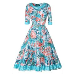 Vintage Style Audrey Hepburn Swing Dress Flowers Printed Half Sleeve... ($35) ❤ liked on Polyvore featuring dresses, blue swing dress, vintage style party dresses, party dresses, midi party dresses and midi dress