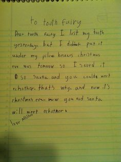 What's the funniest thing YOUR kiddo has ever written to the Tooth Fairy?