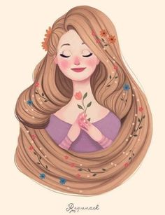 Disney Princesses by Diana Pedott Disney Rapunzel, Disney Pixar, Disney Nerd, Disney And Dreamworks, Disney Animation, Disney Love, Disney Characters, Disney Fan Art, Disney Artwork
