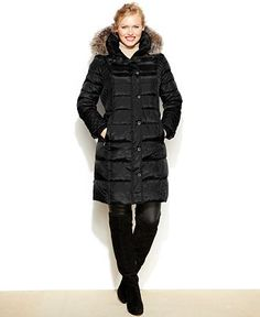 0e58b01ae94 London Fog Plus Size Faux-Fur-Trim Hooded Quilted Down Coat - Coats -