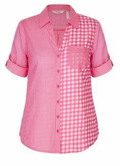 Elbow sleeve button through volie shirt blusas, camisas, faldas, moda, costura de Blouse And Skirt, Blouse Dress, White Shirts Women, Blouses For Women, Red Blouses, Shirt Blouses, Chiffon Blouses, White Ruffle Blouse, Dressy Tops