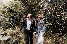 Wedding confetti photo shot inspiration Wedding Photoshoot, Wedding Shoot, Bride Wedding Speech, Confetti Photos, Cottage Wedding, Celestial Wedding, Wedding Company, Wedding Confetti, Woodland Wedding