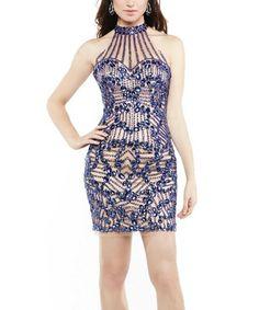Look at this #zulilyfind! Royal Blue Embellished Halter Dress #zulilyfinds