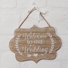 """The """"Welcome To Our Wedding MDF Plaque"""" is a really cute hanging MDF sign. Perfect for welcoming the happy couples Wedding Guests to the wedding. A really nice idea for an engagement gift. Wedding Couples, Wedding Signs, Wedding Reception, Engagement Signs, Welcome To Our Wedding, Jute Twine, White Ribbon, Hanging Signs, Really Cool Stuff"""