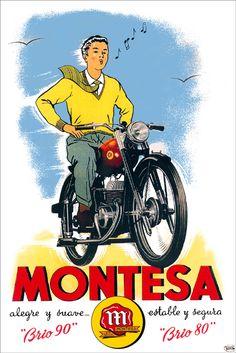 MontesaModelos Bike Poster, Motorcycle Posters, Poster Ads, Motorcycle Art, Bike Art, Classic Motorcycle, Motos Vintage, Vintage Cycles, Vintage Bikes