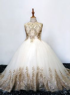 Ball Gown / Princess Maxi Flower Girl Dress - Polyester Sleeveless High Neck with Beading / Paillette by LAN TING Express 2019 - US $129.99 Cheap Flower Girl Dresses, Girls Dresses Online, Princess Ball Gowns, Formal Dresses, Wedding Dresses, Beads, Party, Twin, Collection