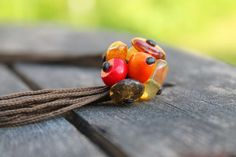 Cluster Pendant Natural Stones Necklace Coral Baltic Amber