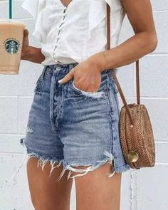 Light Blue Denim Holiday Solid Color Shorts Pants Womens Ripped Jeans, Jeans For Short Women, Pants For Women, Clothes For Women, Women Shorts, Jeans Women, Shorts Levis, Jean Shorts, Jeans Pants