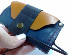 Handcrafted blue and orange cowhide leather wallet by TIZART, $27.00