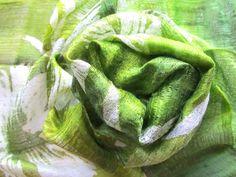 Green Silk Scarf Hand Dyed Handwoven Light Weight Batik Natural Pure Raw Silk Wedding Accessories Handmade Wedding Gift For Her