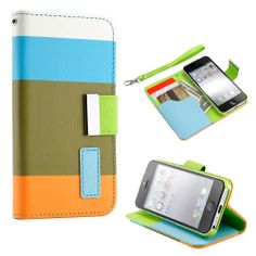 This is Gearonic multi color wallet PU leather card holder magnetic flip cover case for iPhone 5.