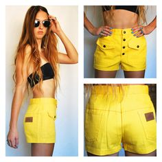 Lady Wrangler Wranglers High Waisted Waist Yellow 70s Mini Short Shorts Summer Groovy Bright Flower Buttons USA Women's 3/4 Small Medium