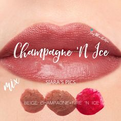 """Learn to mix it up. Use LipSense Mixology to create this """"Champagne 'N Ice"""" LipColor by layering Beige Champagne and Fire N Ice.  #lipsense #mixitup"""