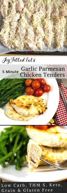 Five Minute Garlic Parmesan Chicken Tenders - Low Carb, THM S, Grain Gluten Free, Keto - It can be difficult to make simple staples taste good quickly. My Five Minute Garlic Parmesan Chicken Tenders do just that. With a five minute prep time, you can pop them in the oven and help kids with homework, get a couple chores done, or just sit back and put your tired feet up.