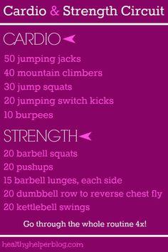 cardio and strength circuit Fitness Tips, Health Fitness, Fitness Motivation, Barbell Squat, Fit Board Workouts, Circuit Workouts, Printable Workouts, Kettlebell Swings, Running For Beginners