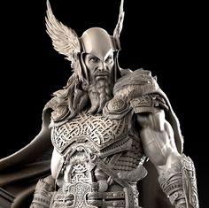 Thor, Norse god and son of Odin. My mother's madden name proves our relation (Thurgood: being translated 'great Thor') Thor Tattoo, Norse Tattoo, Viking Tattoos, Warrior Tattoos, Digital Sculpting, Celtic Warriors, Poses References, Viking Warrior, Norse Mythology