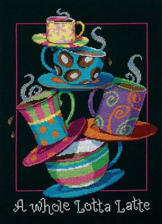 "A Whole Lotta Latte Counted Cross Stitch Kit-11""X14"" 14 Count"