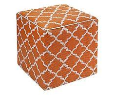 Pouf in/outdoor in polipropilene Tammy, arancione/bianco - 45x45x45 cm