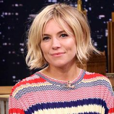 Sienna Miller Waving goodbye to her beautiful boho waves, Sienna has instead opted for a super-sleek, messy bob. A subtle fringe with tousled waves suit her delicate elfin features down to the ground, and give a little texture to her fine hair.  prima.co.uk