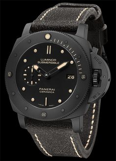 The Watch Quote: The Panerai Luminor Submersible 1950 3 Days Automatic Ceramica - watch - The appearance of the absolute darkness which rules in the depths of the sea Panerai Luminor Submersible, Sport Watches, Cool Watches, Watches For Men, Luminor Watches, G Shock, Skeleton Watches, Beautiful Watches, Watch Brands