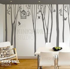 Tree Wall Decal Wall Sticker tree decal - Winter Trees Forest with birdcage - 101in set of 10 trees - kk136