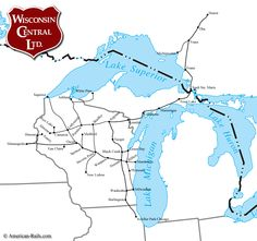 The Wisconsin Central Railway was a Midwest system dating to 1897 that became part of the Soo Line. Us Railroad Map, Train Map, System Map, Train Posters, Rail Car, Electric Train, Lake Superior, Model Trains, Trains