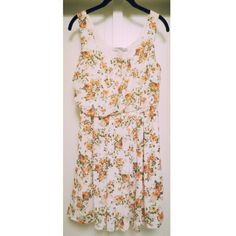 """Relaxed Floral Dress *Sale Details: Bundle with any other dress listing and get both for $20!*  Tank dress for the spring with orange floral pattern. Elastic waist. Pull-over. Pleat detail at top and skirt. Fully-lined. 100% polyester. Approximately 33"""" in length from shoulder to hem. Like new, never worn. Forever 21 Dresses Mini"""