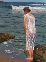 Shoreline - Benito Rebolledo Correa oil on canvas x 70 cm. Beauty In Art, China Art, People Art, India Beauty, Female Portrait, Pictures To Draw, Indian Sarees, Rose Petals, Traditional Art