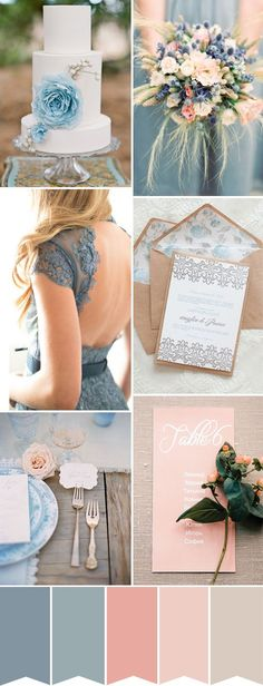 of Summer - A Blue & Peach and Rose Wedding Classy & light: a blue, peach & dusky rose pink wedding color palette Pink Wedding Colors, Wedding Color Schemes, Colour Schemes, Wedding Color Palettes, Color Themes For Wedding, Colors For Weddings, Spring Wedding Themes, Beach Wedding Colour Scheme, Light Blue Weddings