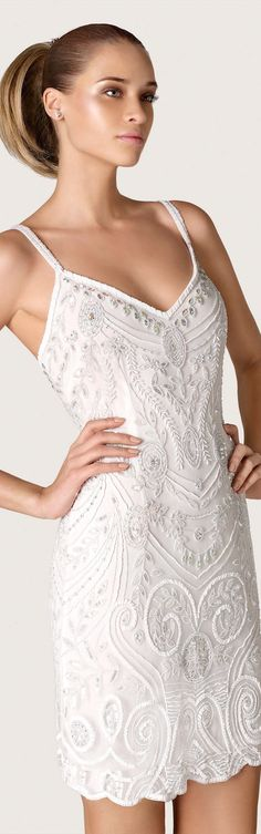 Pronovias City and Dreams Collection 2015 ~ TNT ~ rehearsal dinner dream dress beaded white wedding dress with spaghetti straps 2015 Wedding Dresses, Wedding Gowns, Wedding Pics, Beautiful Gowns, Beautiful Outfits, Dress Vestidos, Festa Party, Short Dresses, Formal Dresses
