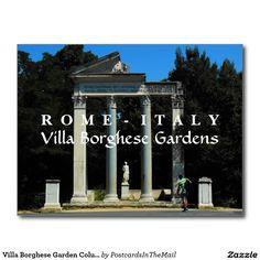 Villa Borghese Garden Columns, Rome, Italy Postcard