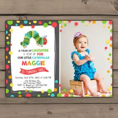 Very Hungry Caterpillar invitation Caterpillar invite With photo party invitations Birthday party Kids party Digital Printable DIY
