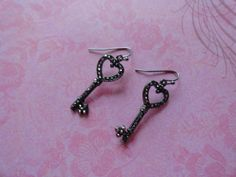 Heart and key black crystal earrings by SILVERNSUCH on Etsy, $14.50