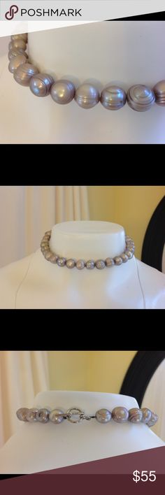 """Freshwater Large Pearl Necklace Just beautiful. Grayish pink taupe color, appears pinker in brighter light, greyer in low light. Length 14.5"""". Pearls vary slightly in diameter, from approx 8mm-12mm. Silver tone toggle closure. Jewelry Necklaces"""