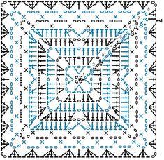 Crochet Border Patterns, Crochet Mandala Pattern, Crochet Blocks, Granny Square Crochet Pattern, Crochet Diagram, Crochet Chart, Crochet Squares, Crochet Stitches, Motifs Granny Square