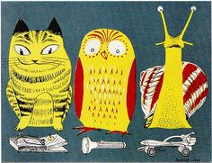 """barbara jones illustration, mid-1950s.  a cat, an owl and a snail """"looking at things""""  (where's kim jong-il?)"""
