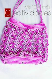 Purse made with pop tabs.  Heart shapes
