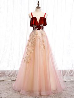 A-line tulle lace long prom dress tulle formal Prom Dresses Long Pink, Tulle Prom Dress, Party Dress, Formal Dresses, Mermaid Dresses, Pink Tulle, Tulle Lace, Custom Dresses, Dress And Heels