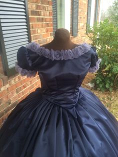 Navy Satin w/Smokey Organza Roses Civil War Ball Gown**28