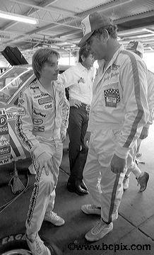 Mark Martin, left, and Buddy Baker talk in the garage at the. Nascar Race Cars, Nascar Sprint Cup, Mark Martin, Daytona International Speedway, Dale Earnhardt Jr, Daytona Beach, Car And Driver, Courses, Super