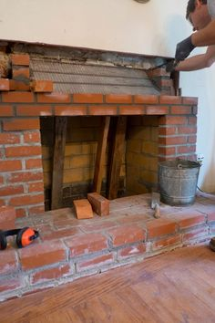 Domestic Fashionista: Recovering Our Fireplace Reface Brick Fireplace, Build A Fireplace, Brick Masonry, Fireplace Design, Parrilla Exterior, Brick Grill, Barbecue Design, Build Outdoor Kitchen, 3d Panels