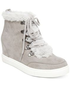 133b8a14baa9b0 Madden Girl Pulley Faux-Fur Wedge Sneakers - Sneakers - Shoes - Macy s High  Top