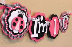 LadyBug Black White Pink Polka Dot I'm 1 High Chair Age Lady Bug Banner Highchair Girl Baby Shower Birthday Party Decorations Room Decor on Etsy, $18.00