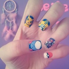 Pokemon nail art ♥ Marill, Pikachu, Jirachi, Butterfree, and Pokeball. ^-^